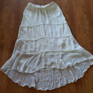 Iz Byer Long Boho Hippie White Skirt